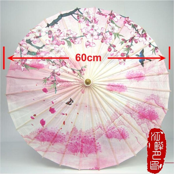 Warm Color Series Pink Oil Paper Umbrella Peach Tree Branch with Flying Bird Paper Parasol Hill Mountain Tree Paper Umbrella