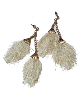Cream Double Tassel Earrings