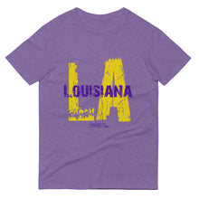 Load image into Gallery viewer, LA Louisiana Purple and Gold Short-Sleeve T-Shirt