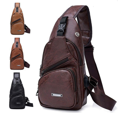 Cross-Border For Custom PU Shoulder Bag Men'S Charging Bag Men'S USB Chest Bag