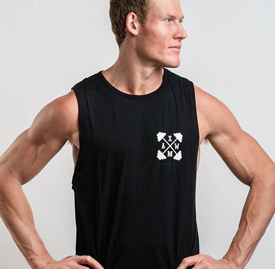 STOP AT NOTHING - XMAW Series Muscle Cut Tank - Black