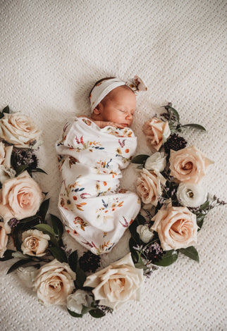 Boho Posy – Snuggle Swaddle and Topknot Set