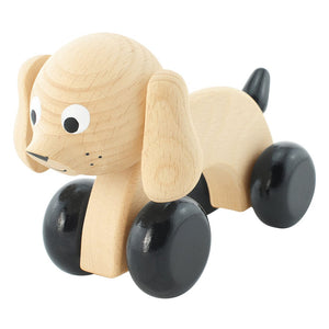 Children's wooden push along toy dog