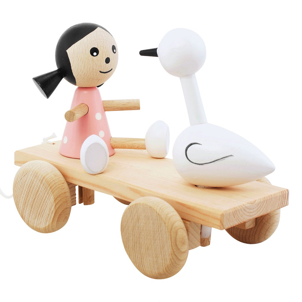 Children's wooden girl and swan pull along wooden toy
