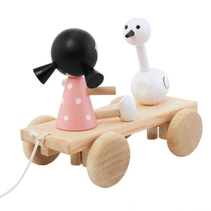 Children's wooden girl and swan pull along toy