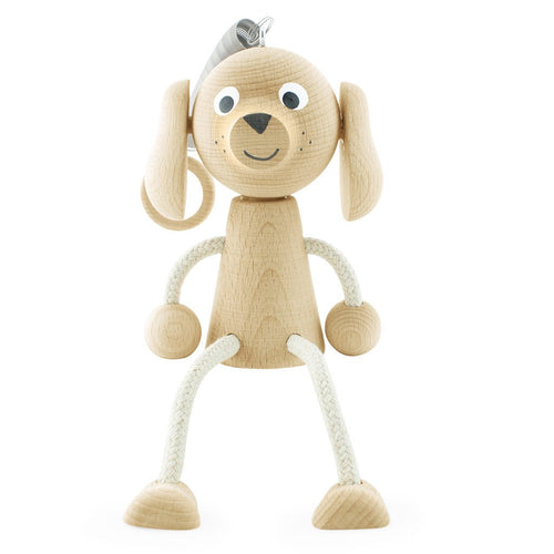 Bouncing Wooden Toy Dog for Children