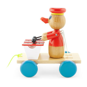 Children's wooden toy pull along duck