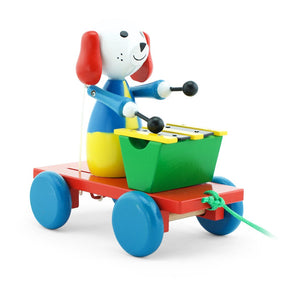 Children's wooden toy pull along dog
