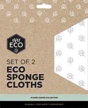 Load image into Gallery viewer, Ever Eco Sponge Cloths - Scandi Leaves - 2 pack