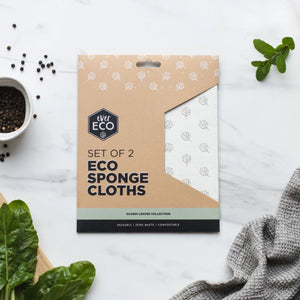 Ever Eco Sponge Cloths - Scandi Leaves - 2 pack
