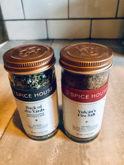 Spice House's Back of the Yards & Vulcan's Fire Salt on table