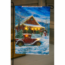 Load image into Gallery viewer, Vintage Christmas Solar LED Garden Flag | Evergreen