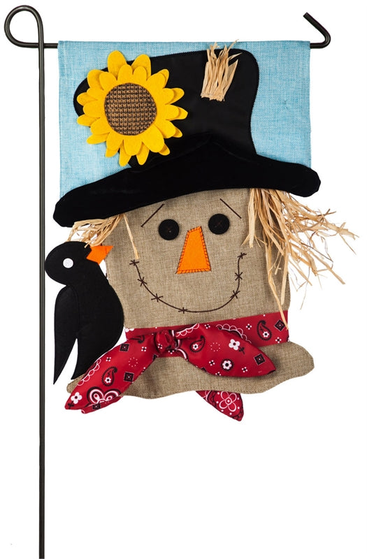 Scarecrow Season Garden Burlap Flag | Evergreen
