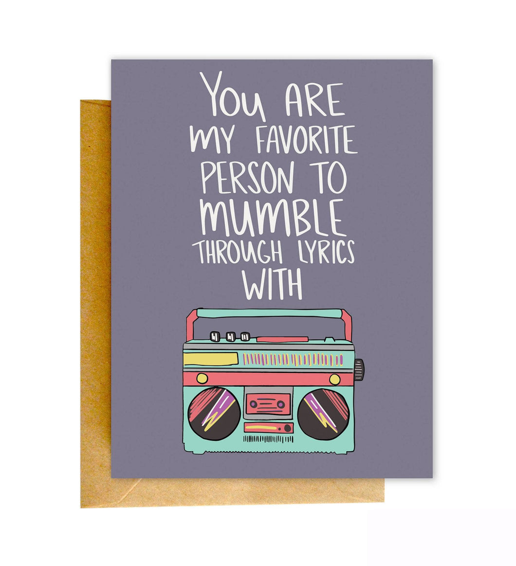 Mumble Lyrics | Knotty Cards
