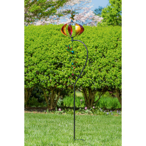 "76""H Hummingbird Orb with Twirler Combination Wind Spinner 