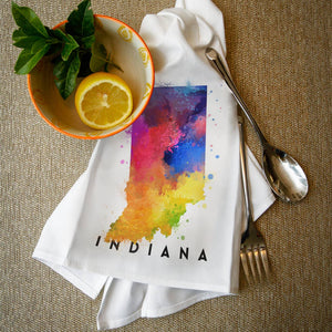 Indiana State Abstract Watercolor Tea Towel