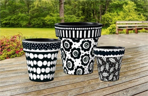 "Black and White Leaves 12"" Art Planter - InRugCo Studio & Gift Shop"