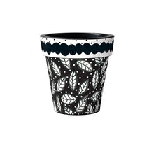 "Load image into Gallery viewer, Black and White Leaves 12"" Art Planter - InRugCo Studio & Gift Shop"
