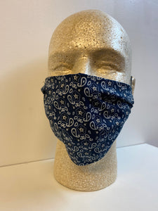 Navy Blue Bandana Print | Basic Fabric Face Mask - InRugCo Studio & Gift Shop