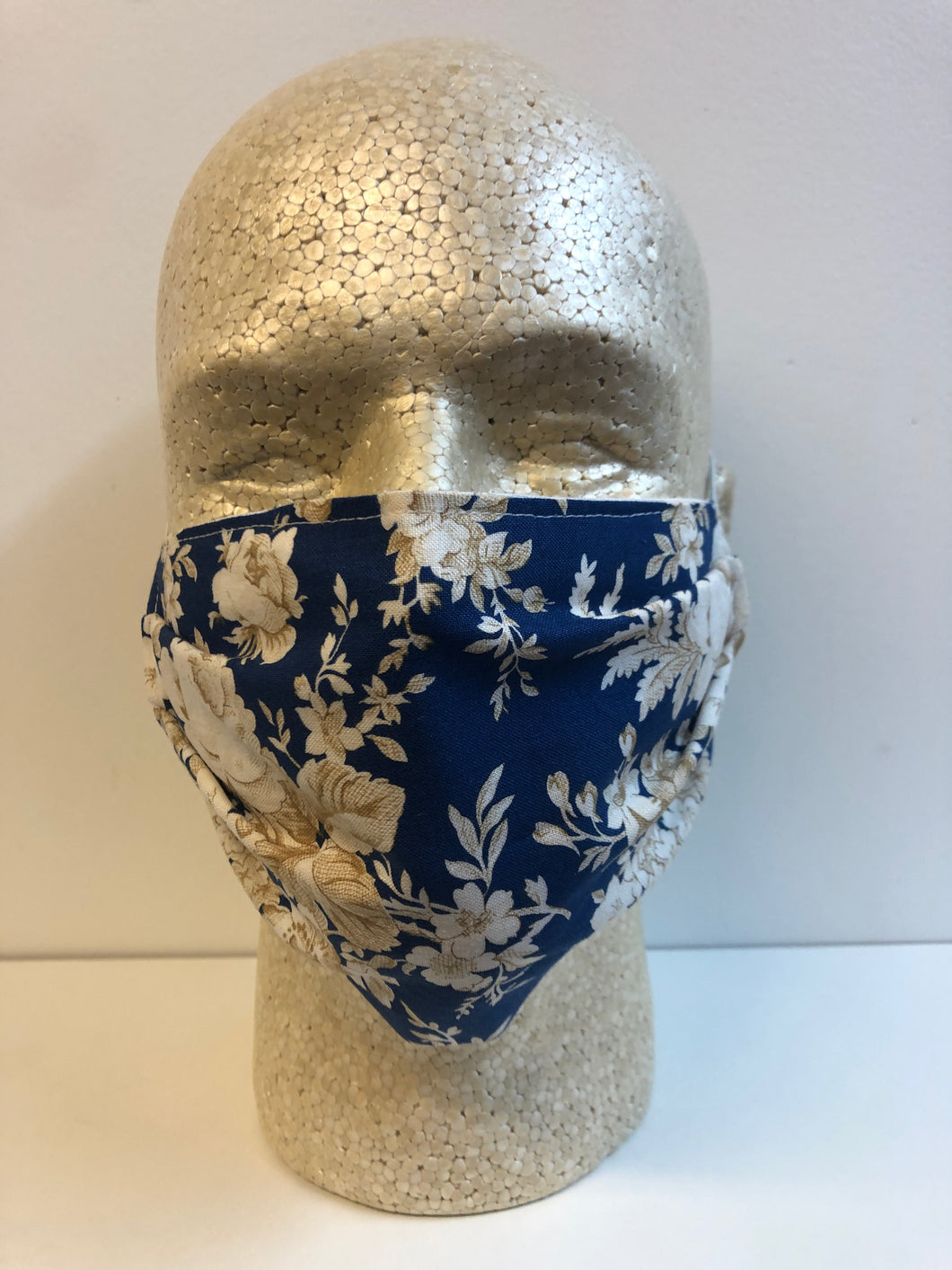 Blue with Cream Floral Print | Basic Fabric Face Mask - InRugCo Studio & Gift Shop