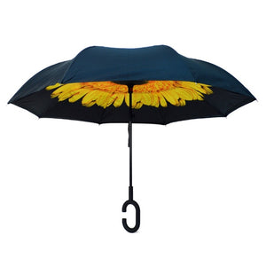 Yellow Flower Double Layer Inverted Umbrella