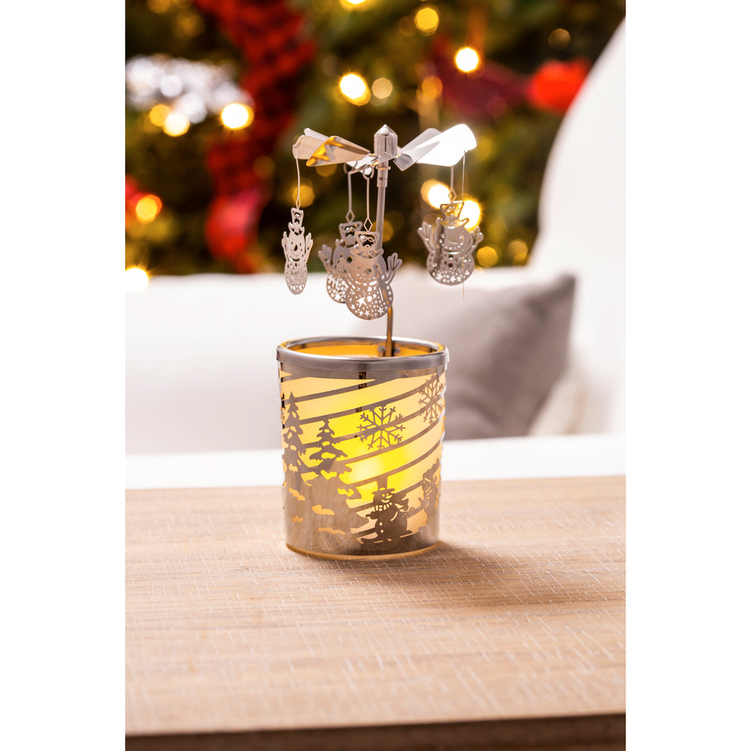 Snowman Rotary Votive Candle Holder | Evergreen