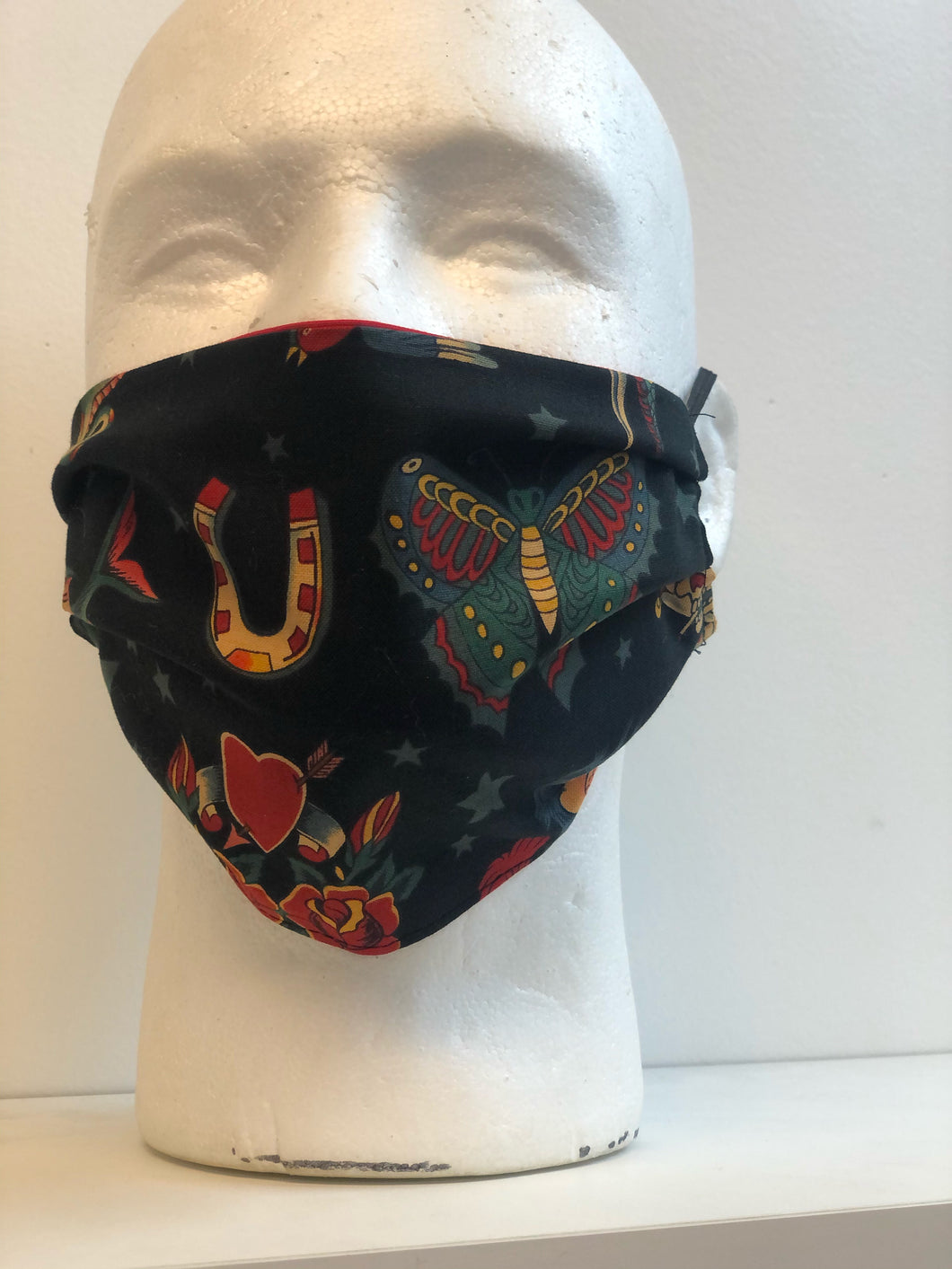 Vintage Tattoo on Black Print | Basic Fabric Face Mask