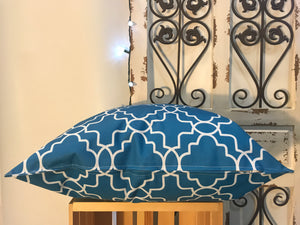 "20"" Blue & White Geometric Shapes Pillow Cover - InRugCo Studio & Gift Shop"