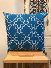 "Load image into Gallery viewer, 20"" Blue & White Geometric Shapes Pillow Cover - InRugCo Studio & Gift Shop"