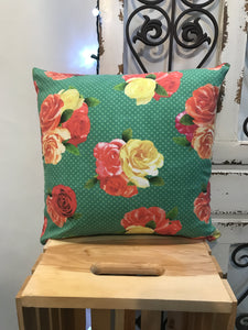 "18"" Roses, Polka Dot & Red Suede Pillow Covers - InRugCo Studio & Gift Shop"