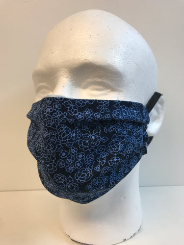 Navy Flowers Basic Fabric Face Mask | InRugCo Studio & Gift Shop - InRugCo Studio & Gift Shop
