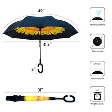 Load image into Gallery viewer, Yellow Flower Double Layer Inverted Umbrella