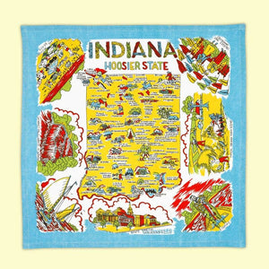 Indiana Map Tea Towel | Red & White Kitchen Company - InRugCo Studio & Gift Shop