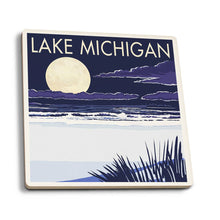 Load image into Gallery viewer, Lake Michigan - Full Moon | Ceramic Coasters