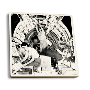 Rosies at Work B-17 Flying Fortress Airplane Ceramic Coaster
