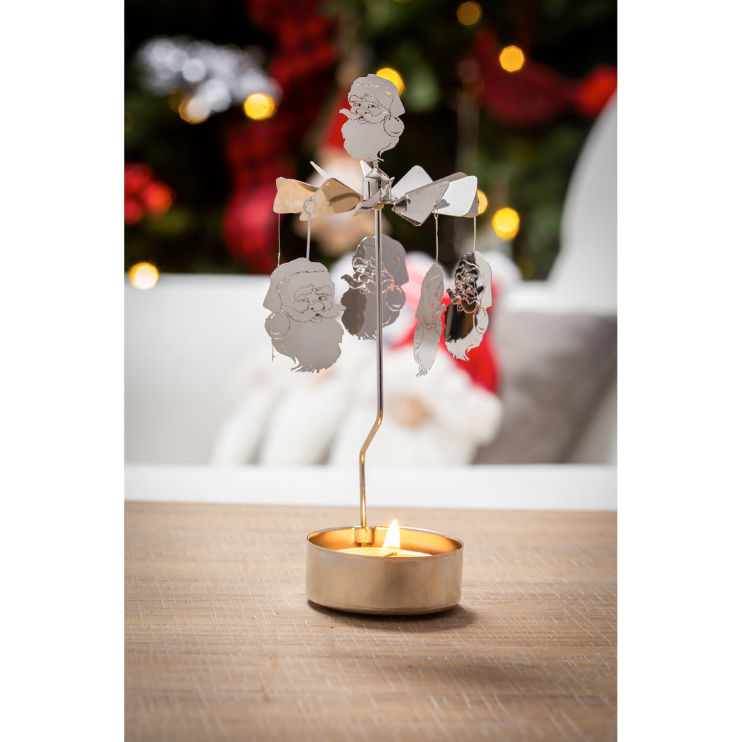 Santa Rotary Tea Light Candle Holder | Evergreen