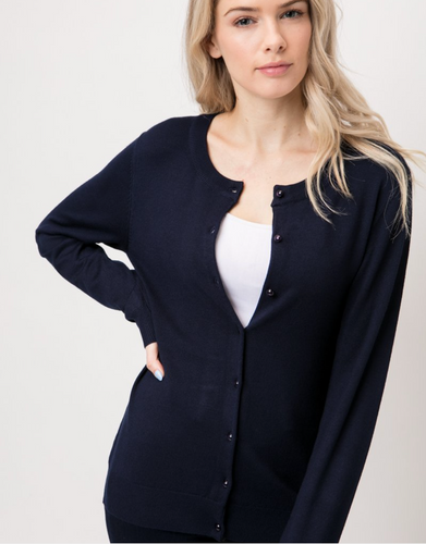 Women's Round Neck Shank Button Down Cardigan | Black