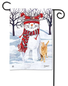Snow Cat Garden Flag | Studio M