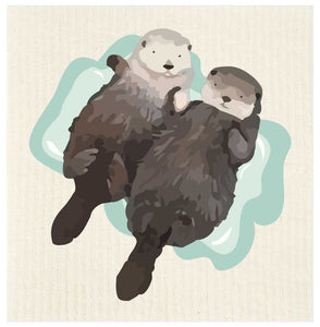 Sea Otter Duo Swedish Dishcloth | Potluck Press