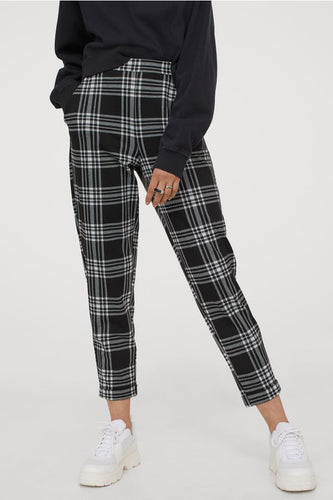 ankle length checked pull on pants