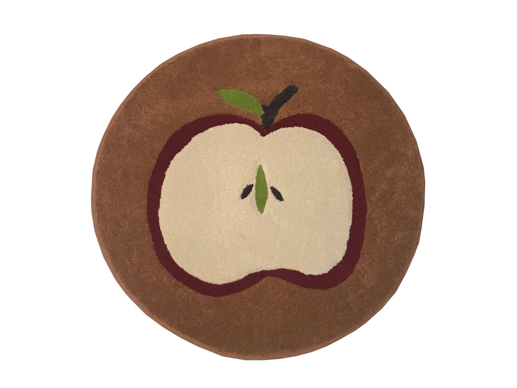 Apple w/Brown Background Area Rug - InRugCo Studio & Gift Shop