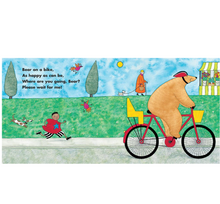 Load image into Gallery viewer, barefoot books bear on a bike