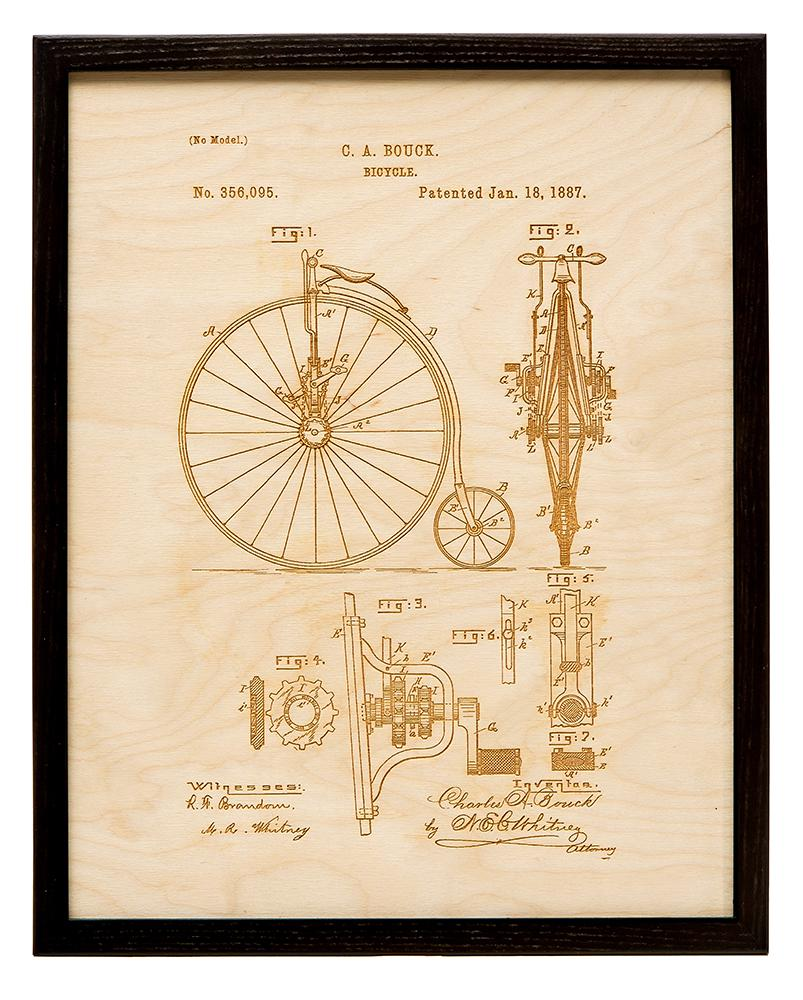 Patent Art - Bicycle | Wood Chart - InRugCo Studio & Gift Shop