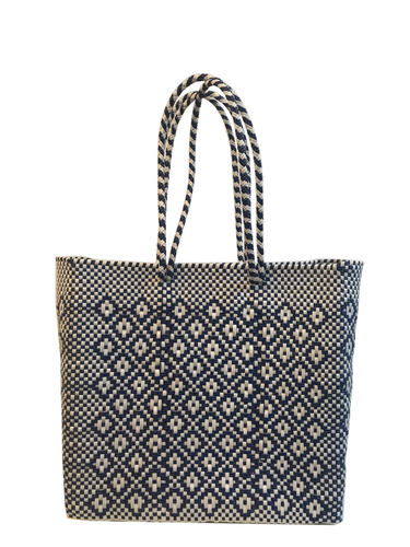 Royal Blue & White Woven Bag | Oaxaca, Mexico - InRugCo Studio & Gift Shop