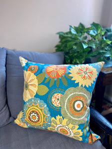 "20"" Blue Folk Flowers Pillow Covers - InRugCo Studio & Gift Shop"