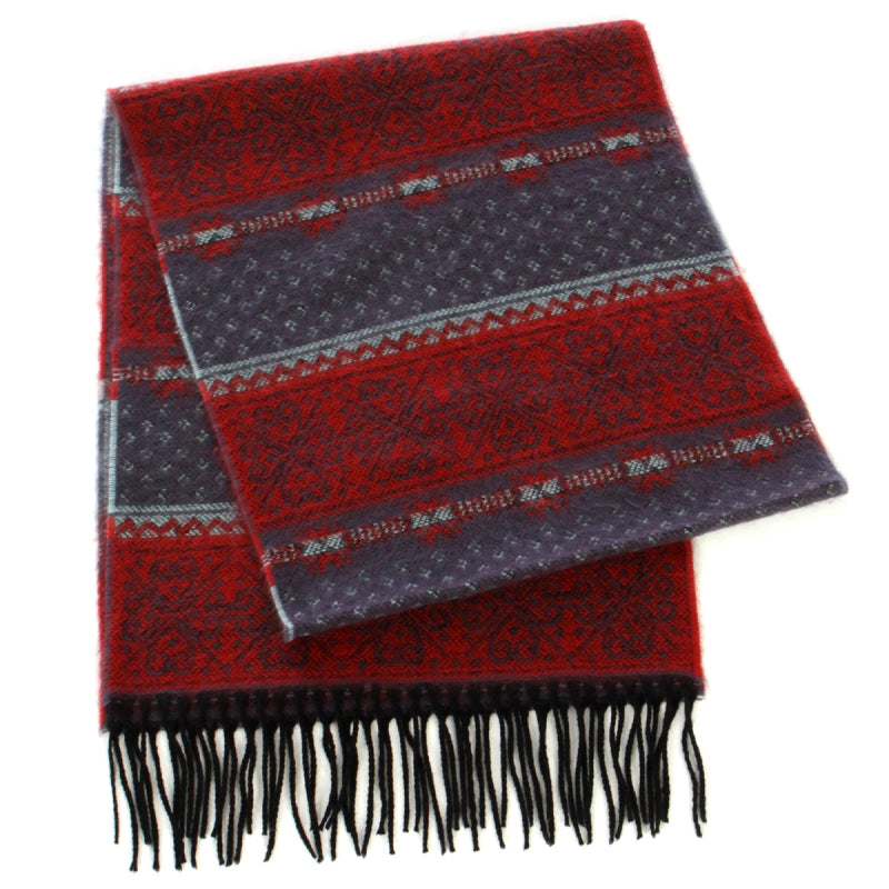 blue red cashmere scarf