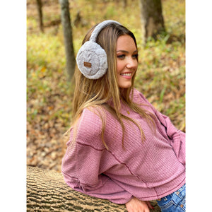 cable knit faux fur earmuffs cc