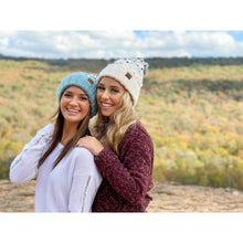 Load image into Gallery viewer, Light Grey Chunky Knit Yarn Pom Beanie | CC Beanie