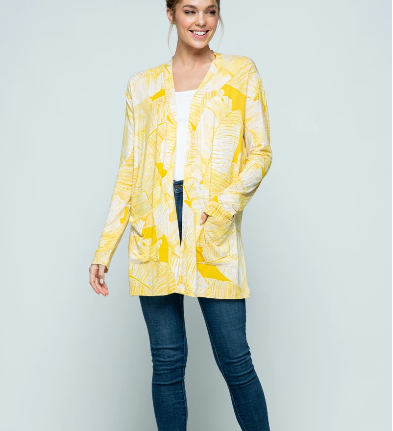 Open Cardigan | Palm Yellow - InRugCo Studio & Gift Shop