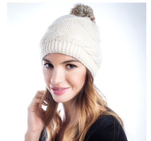 Load image into Gallery viewer, Emerald | Diamond Couture Merino Beanie with Fur Pom